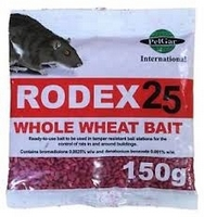 Rodex 25 Whole Wheat Rat Poison 5 x 150g sachets